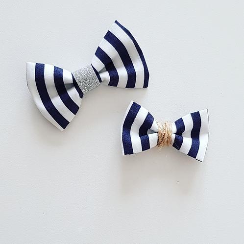 Petit nœud marinière bleu/ficelle - Les Noeuds de Maman