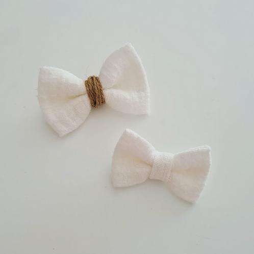 Headband petit nœud tissé blanc cassé/ficelle - Les Noeuds de Maman