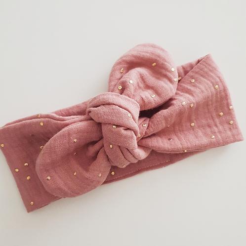 Bandeau à nouer double gaze rose thé pois or - Les Noeuds de Maman