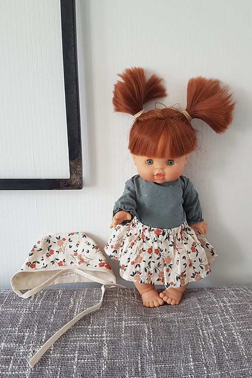 Tenue jupe à fleurs, béguin et blouse Aimé - Les Petits Bobos