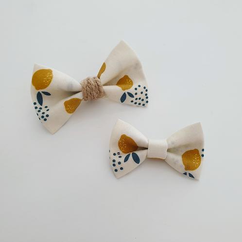 Headband petit nœud citron/ficelle - Les Noeuds de Maman