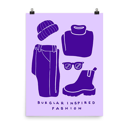 "Burglar Inspired Fashion Poster Print, 8""x10"" or 18""x24"""