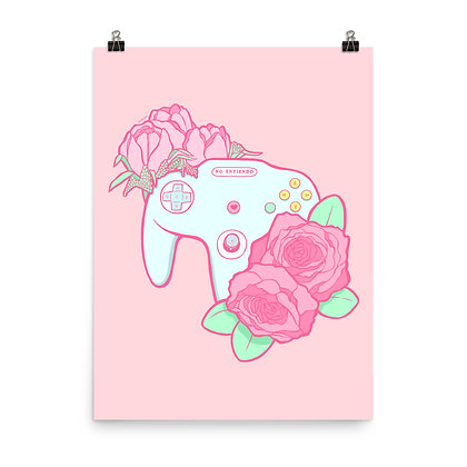 N64 Controller Poster Print, 8x10 or 18x24