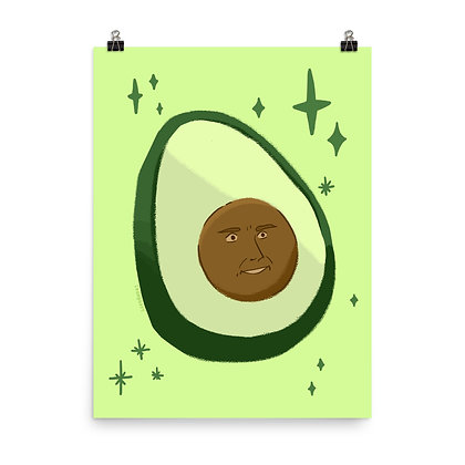 """Avocado Face Poster Print, 8""""x10"""" or 18""""x24"""""""
