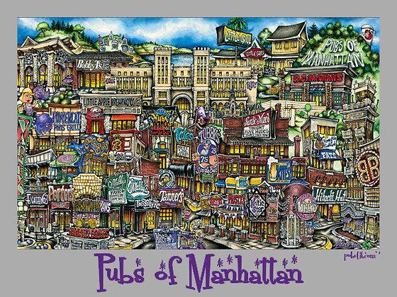 Pubs of Manhattan Poster (Gray)