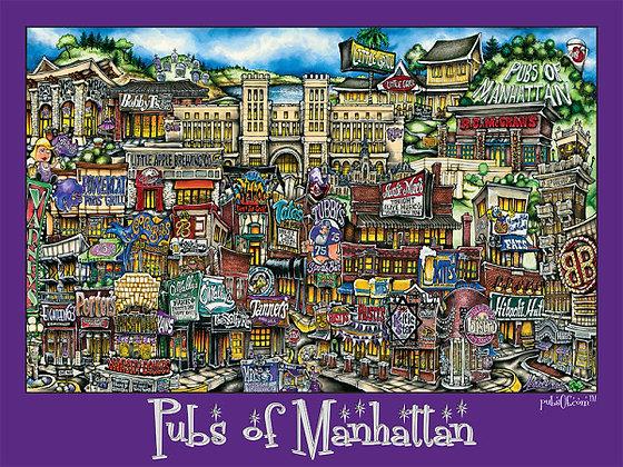 Pubs of Manhattan Poster (Purple)