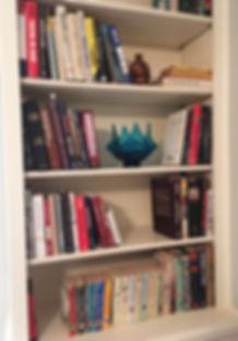 Professiona Organizer Bookshelf Staging After Downsizing