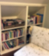 Playroom Organized Book Shelves After