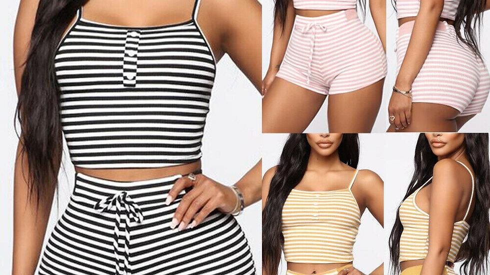 Women Summer  Sleepwear 2pcs Set Slim Pajama  Sleepwear Sexy Sleeveless Stripe