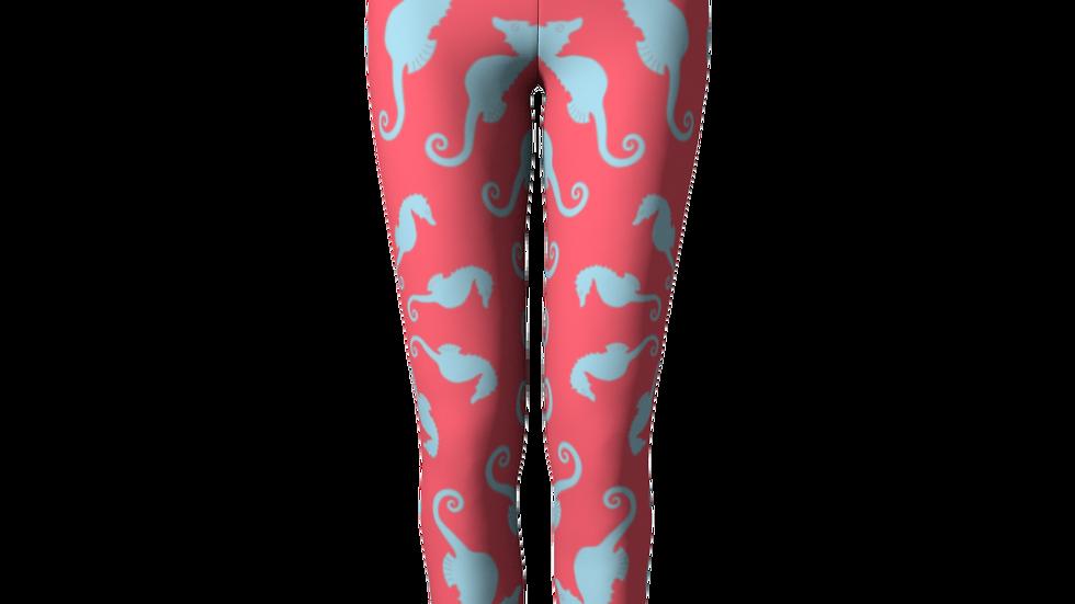 Seahorse Leggings - Coral Pink