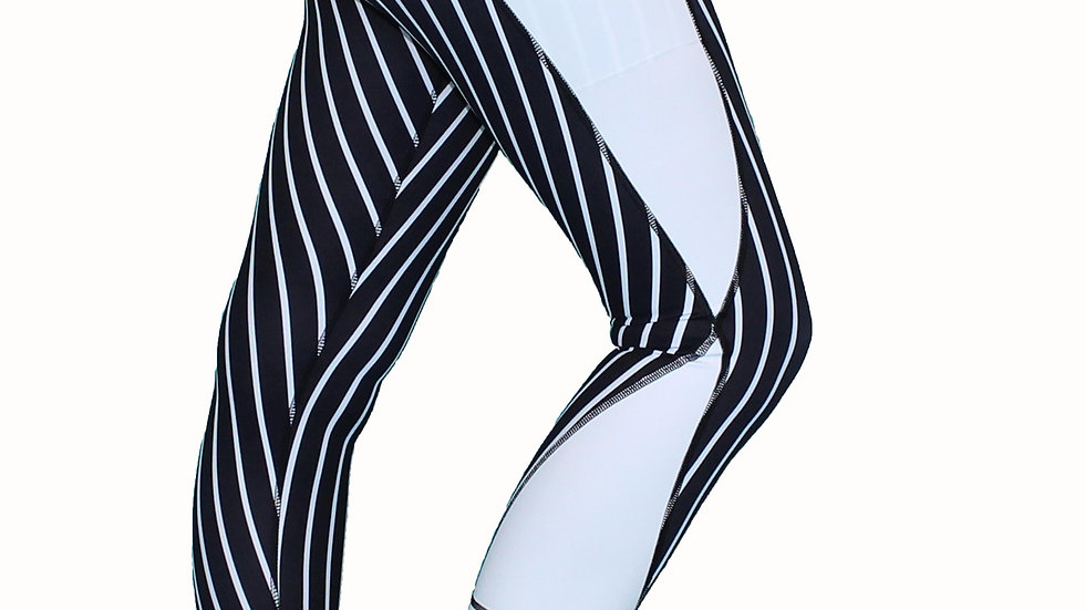 Vertical Stripe - Black and White - Pocket Tights