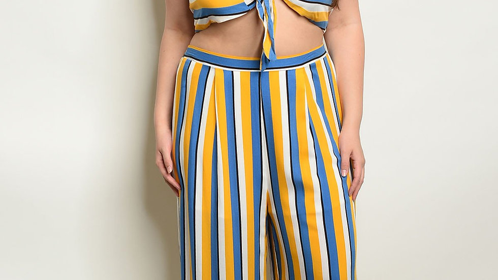 Womens Stripes Plus Size Top & Pants