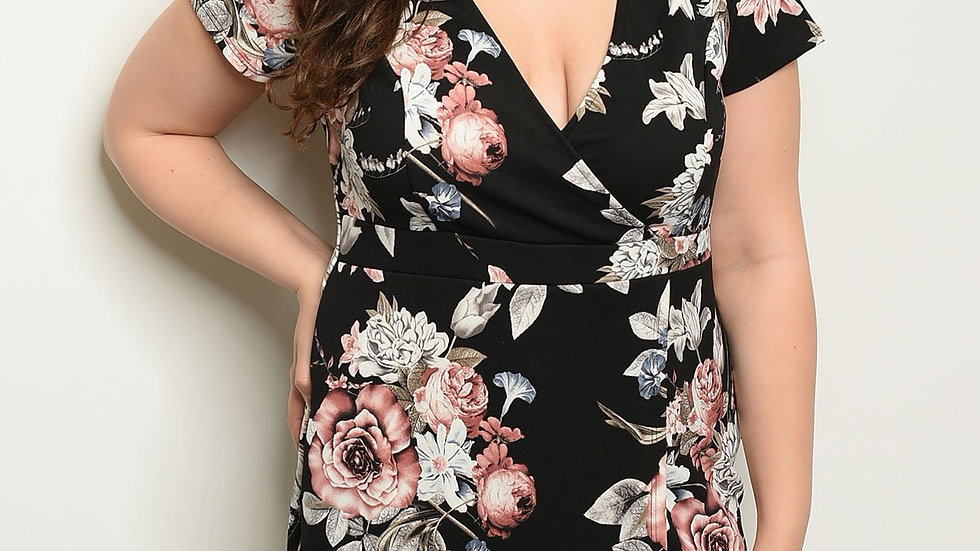 Black Floral Plus Size Dress