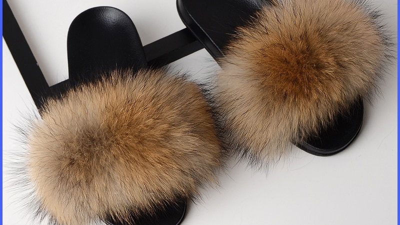 Fur Slippers Women Real Fox Fur  Female Cute Fluffy House Shoe 2020!!!s
