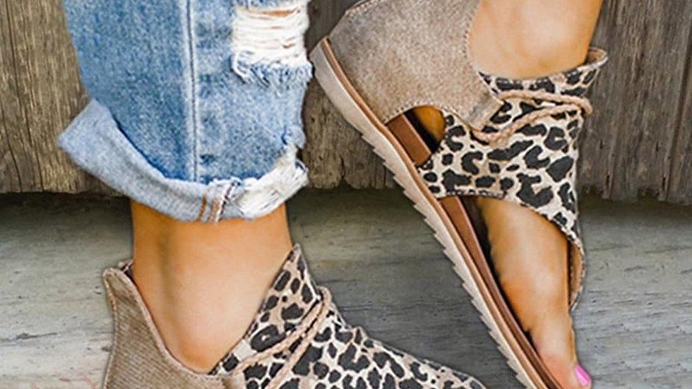 Women Sandals Leopard Print Summer Shoes Women Large Size Andals Flat Sandals