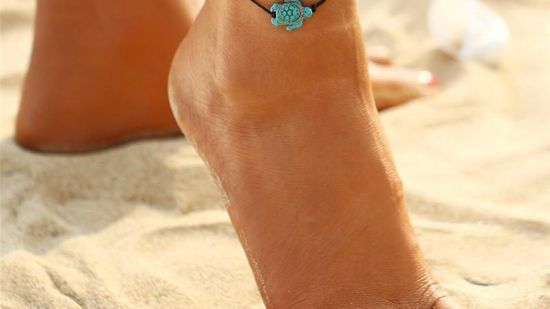 Carved Boho Turquoise Turtle Anklet Ankle Bracelet
