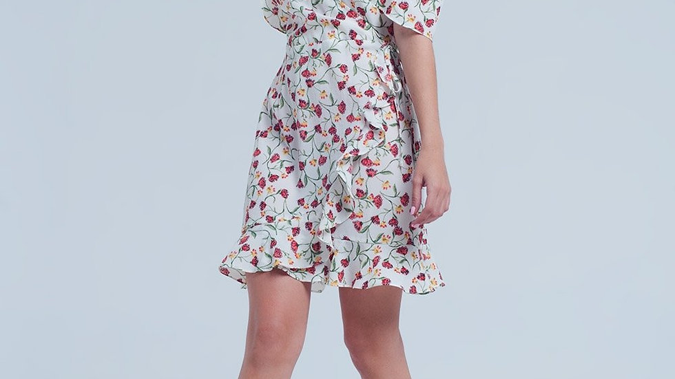 White Mini Dress With Floral Print
