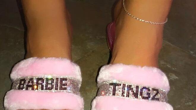 Fashion Fur Plush Wild Hair Home Slippers Women Diamond Warm Sandals Female