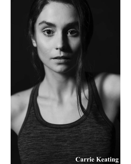 Carrie Keating Black and white headshot.
