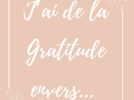 J'ai de la gratitude envers ....✨
