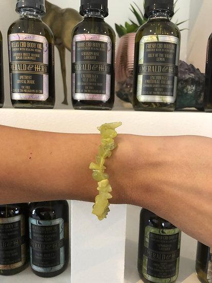 OLIVE SERPENTINE HEALING CRYSTAL BRACELET