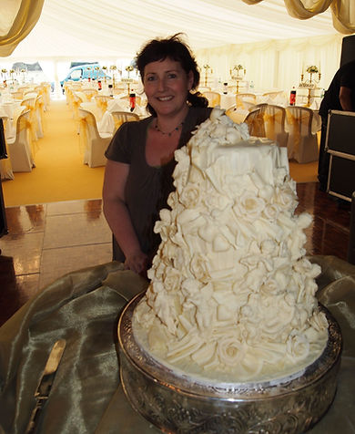 Sarah and 20kg of white chocolate Weddin
