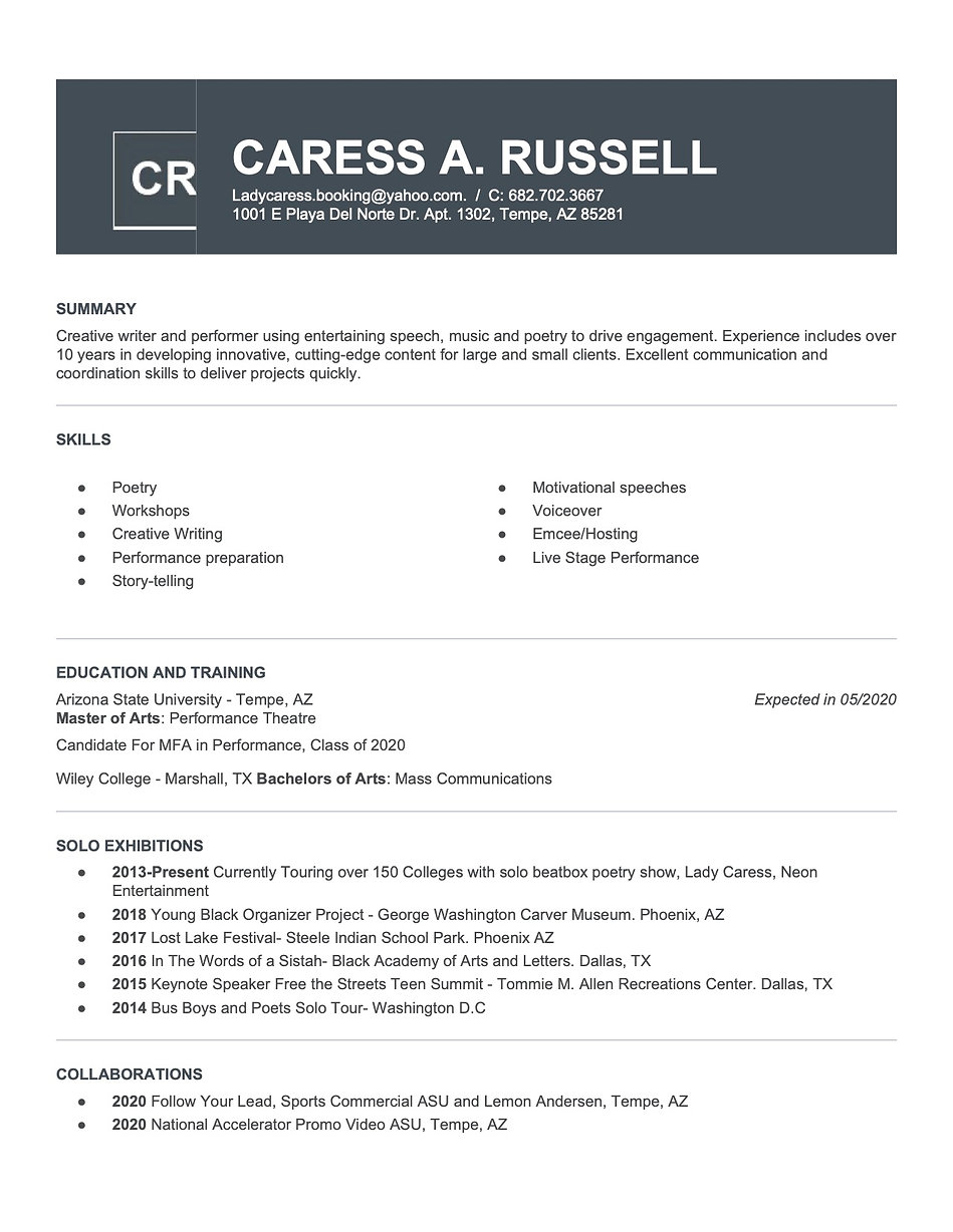 photo 1 Caress Russell 2020 CV_Resume.jp