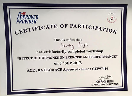 "This certifies that Harteg Singh has satisfactorily completed workshop ""effect of hormones on exercise and performance""."