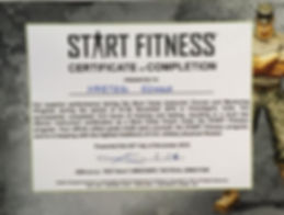 START FITNESS certificate of completion presented to Harteg Singh.