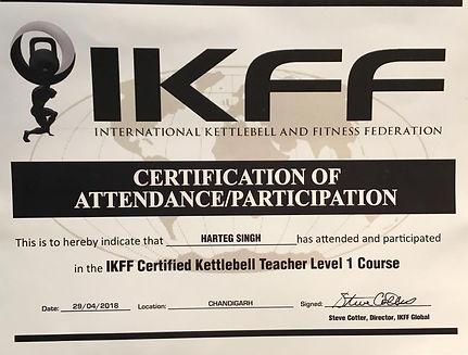 This is to hereby indicate that Harteg Singh has attended and participated in the IKFF certified Kettlebell teacher level 1 course