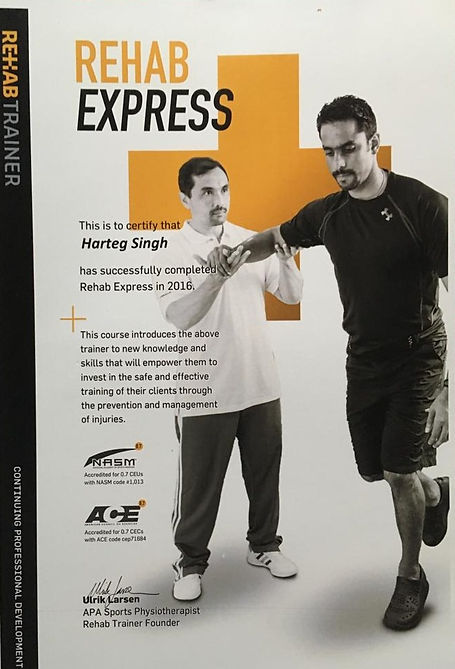 This is to certify that Harteg Singh has successfully completed Rehab Express in 2016.