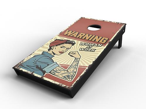 "Vintage Pinup ""Woman at Work"" Cornhole Board"