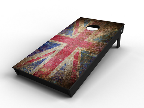 Rustic Union Jack Cornhole Board