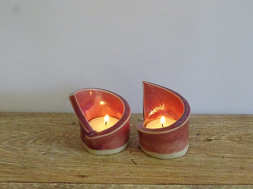 Assymetrical Maroon Pair Candle Holder