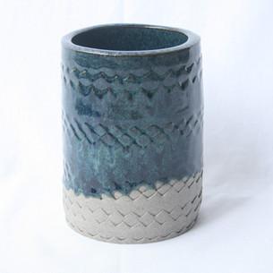 Patterned Utensil Pot Blue Green Dark