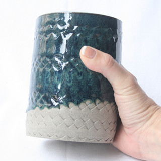 Patterned Utensil Pot Blue Green Dark