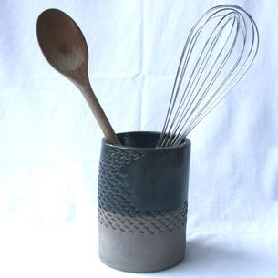 Patterned Utensil Pot Grey