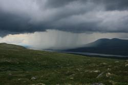 Rain over the lake Langsjøen
