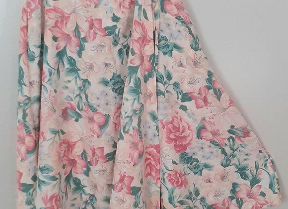 Jupe longue (M) portefeuille. Rose lys, peonie florale