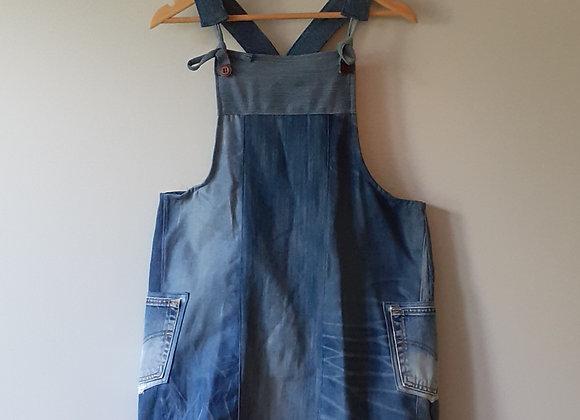 Robe salopette, jean recyclé
