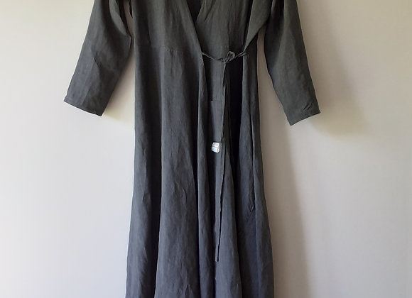 Robe longue portefeuille femme, en coton/Lin