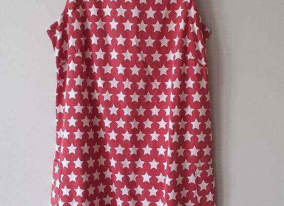 Robe droite (L) à énfiler. Rouge foncé + etoiles blanc