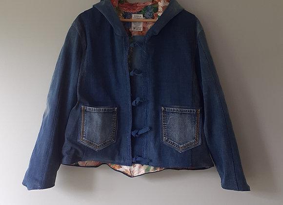 Veste jean avec capuche - doublé coton