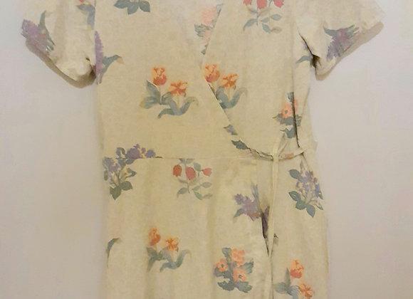 Robe mi-longue (S) portefeuille. Vert sauge + bouquets mauve orange vert florale