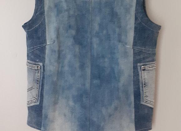 Box top jean (L) bleu foncé /clair delavé