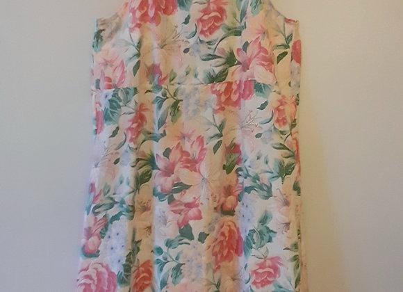 Robe d'été coton (S) Magenta, vert floral, peonies, lys