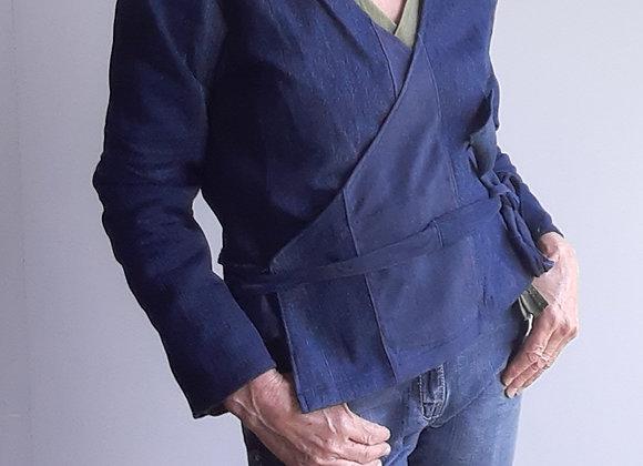 Cache coeur femme, jean recyclé