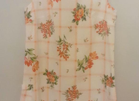 Robe droite (S) à énfiler.  Blanc avec bouquets florales rouges