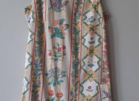 Robe droite (M) à énfiler. Vert sauge florale