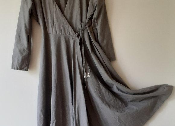 Robe longue portefeuille femme, en coton melange